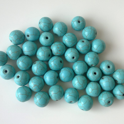 tyrkys rekonstruovaný 9 korálky 1,2 cm, 2 kusy
