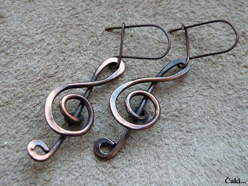 Naušnice - měď - houslové klíče