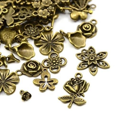 Květiny antický bronz mix