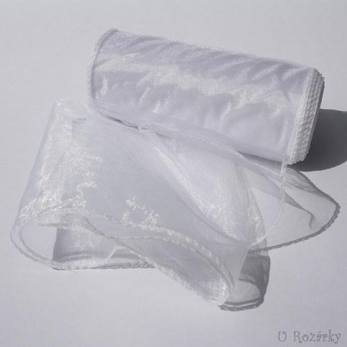 Organza obšitá - šíře 15 cm - bílá