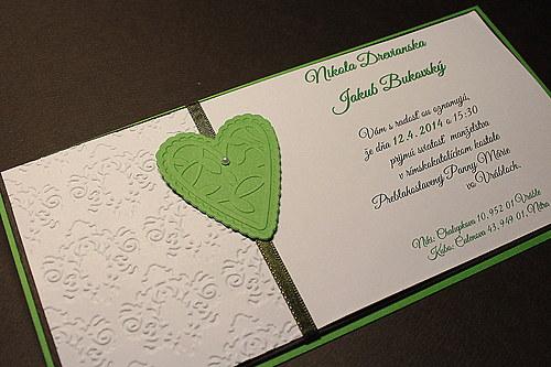 Svadobné oznámenie - čokoládovo zelené so srdcom