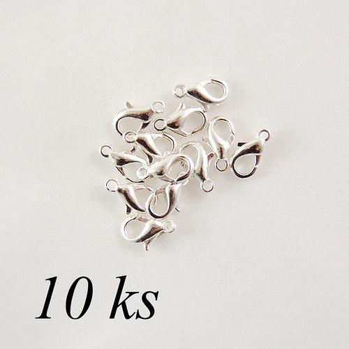 Karabinka stříbrné barvy 12mm - 10ks