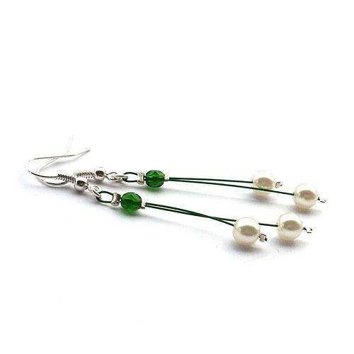 Zelenobílé perličkové náušnice