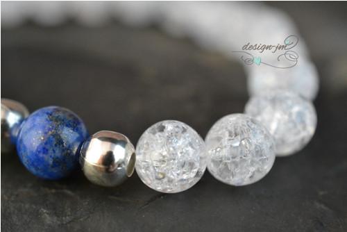 Náramek - křišťál,lapis lazuli