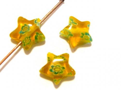 1100330/Hvězda žlutá s modrými květy, 1 ks