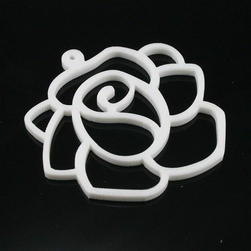 Velká bílá růže - plastový přívěsek, 2 ks