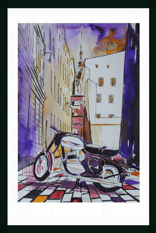 Jawa 350, Olomouc, Ilustrace Dlabal