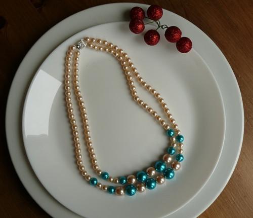 perlový náhrdelník - dvouřadý modrý