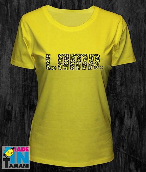 Dámské žluté tričko s Lamou potisk 04
