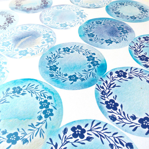 Z modrého kvítí - samolepící etikety