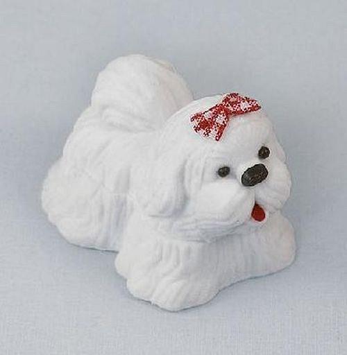 Sametová krabička na šperky - bílý pes