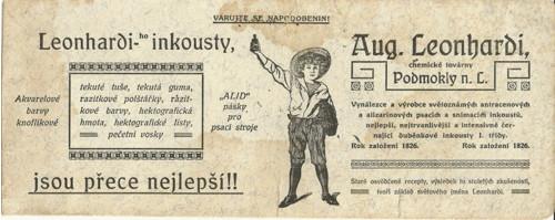 Reklamní savý papír piják Leonhardi inkoust