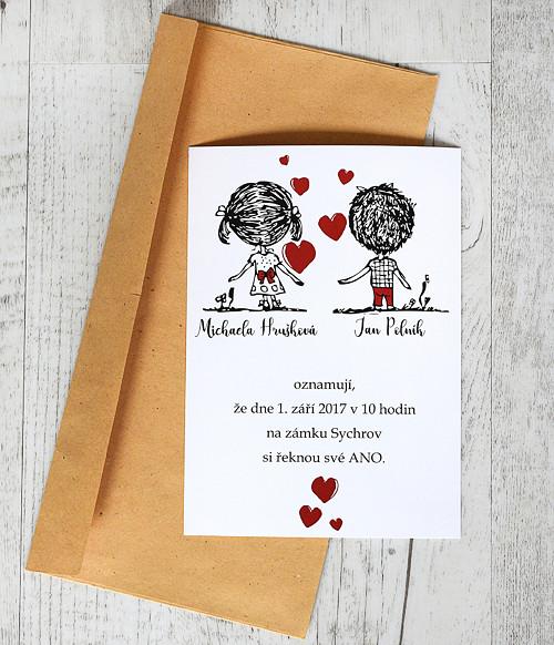 Svatební oznámení s kreslenými postavičkami