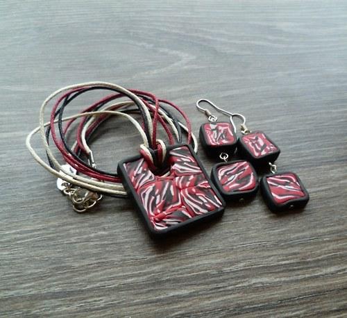 Černo-červeno-bílý náhrdelník + náušnice