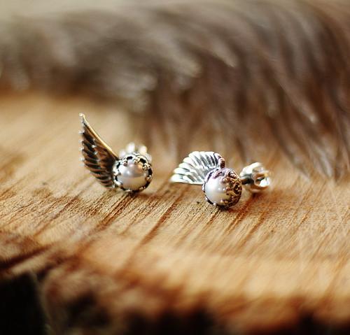 Andělské puci - stříbro ( Ag925,  perly)