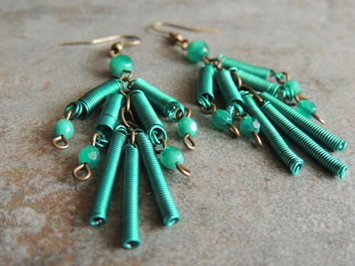 Spirálové smaragdky, náušnice