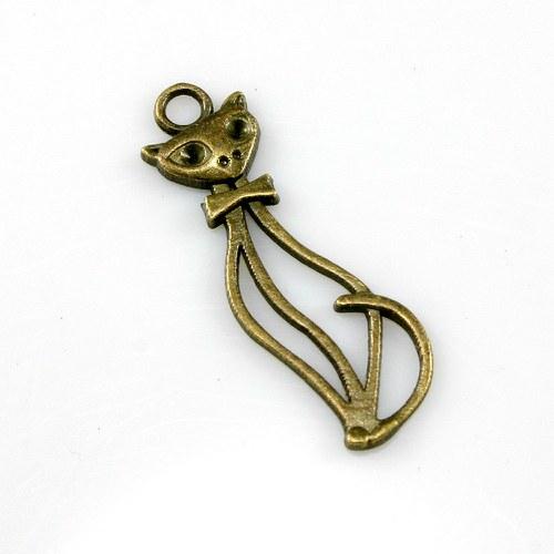 Přívěsek - elegantní kočka, bronz