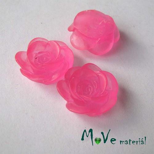 Kabošon květ transparent A4- resin - 2ks, tm. růž.