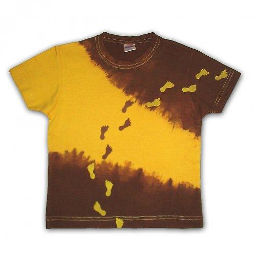 """Žluto-hnědé \""""pošlapané\"""" tričko"""
