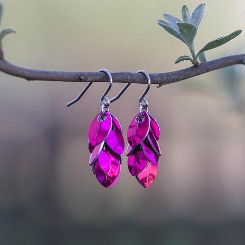 Micro náušnice - Dračí ocásky (růžové)
