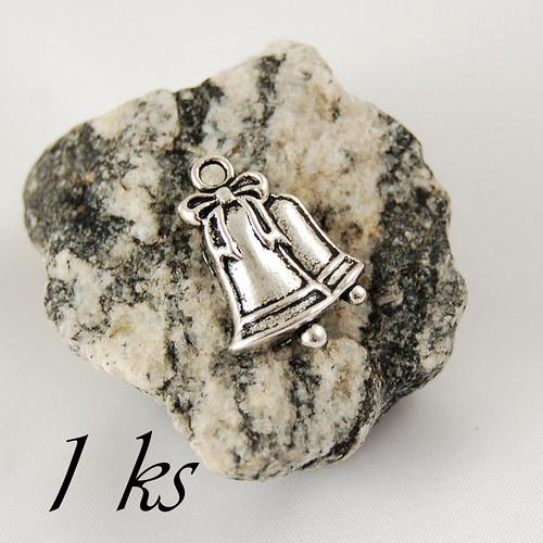 Zvonečky, stříbrná barva - 1ks