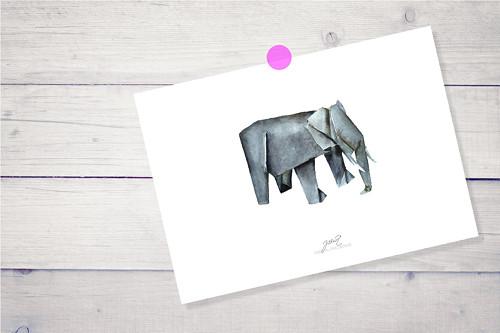 Slon. Signovaný tisk A4.