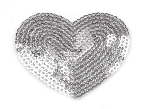 Nažehlovačka - HEART s flitry stříbrná