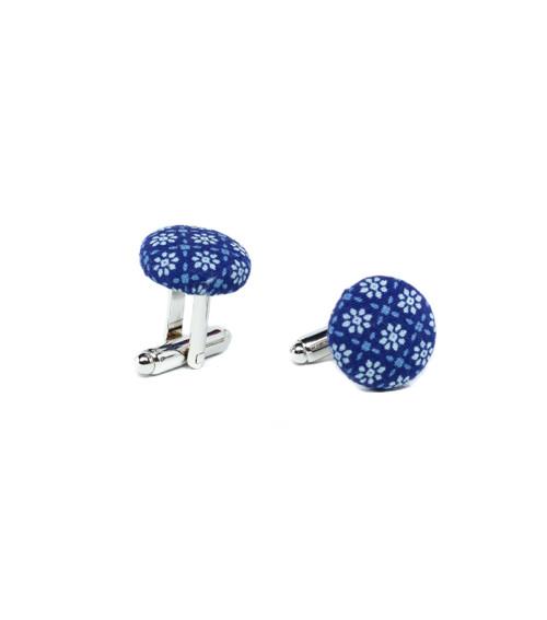 Manžetové knoflíčky modré s kytičkami