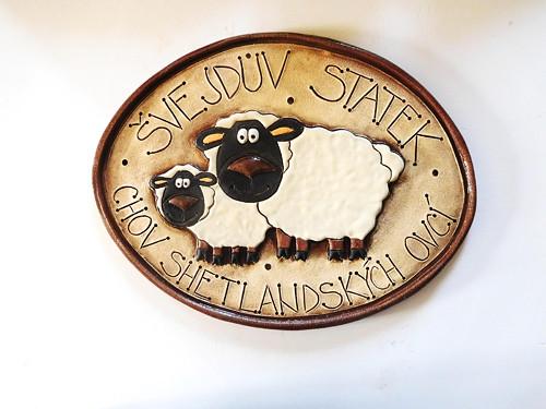 keramická cedulka - s ovečkama