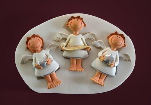 Silikon. forma Relief 3 andělíčci vel 6,5cm