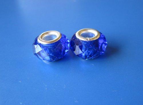 Skleněné broušené korálky 2ks - odstín tm.modrá