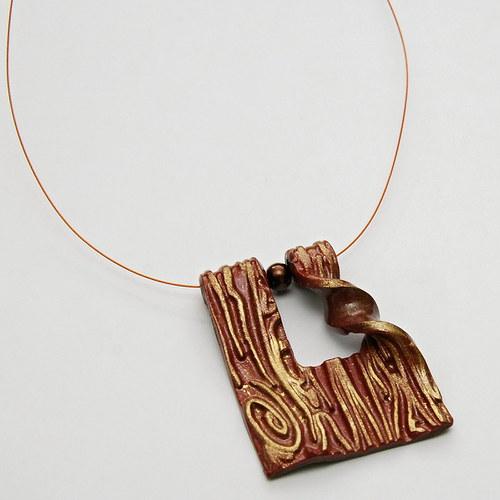 Hnědo-zlatý náhrdelník