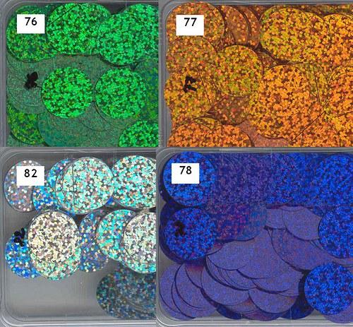 Flitry 20 mm MIX 1-4 barvy - třpytivé - bal. 4x5g