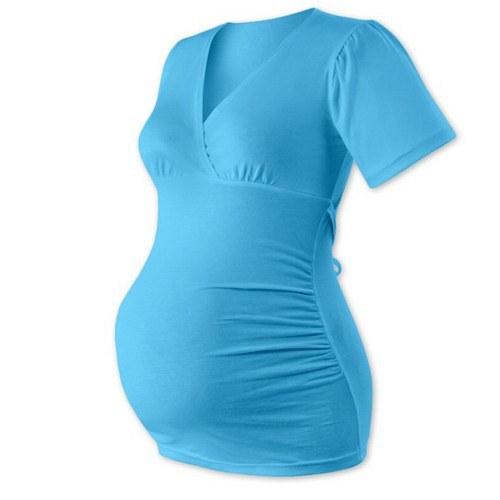 Těhotenská tunika na zavazování-  tyrkys