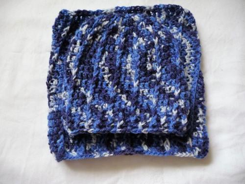 Set čapka+tunel-modrý melír