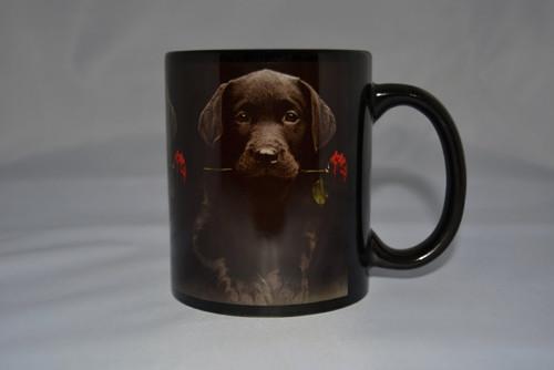 hrnek motiv Labrador štěně s růží