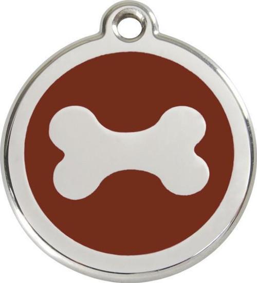 Psí známka Red Dingo: hnědá kost (30 mm)