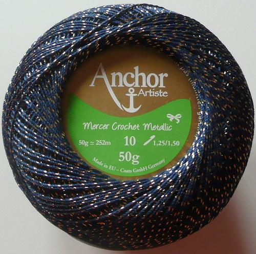 Anchor Crochet Metallic - modro-zlatá