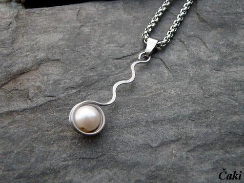 Bílá perla - přívěšek