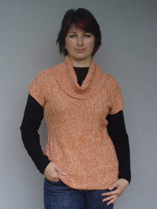 buretové hedvábí oranžová vesta SLEVA