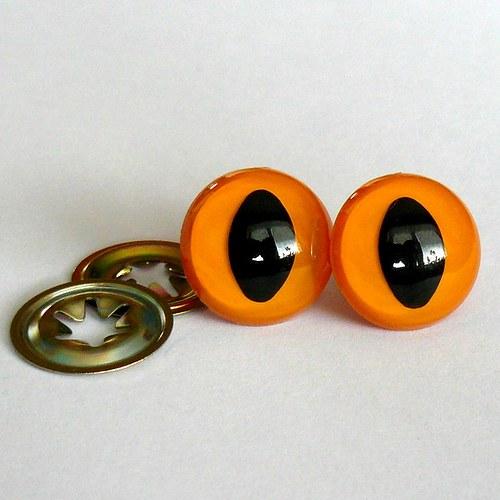 Bezpečnostní oči kočičí - oranžové, 18 mm