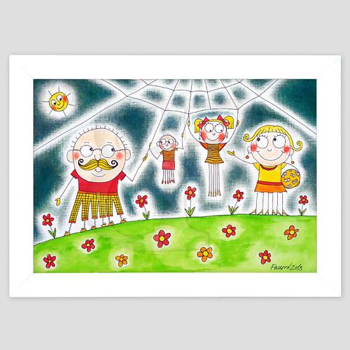 Pavoučí rodina - ručně malovaný obrázek A4 v rámu