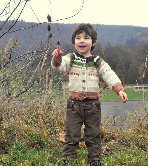 Dětský ručně pletený vlněný svetr