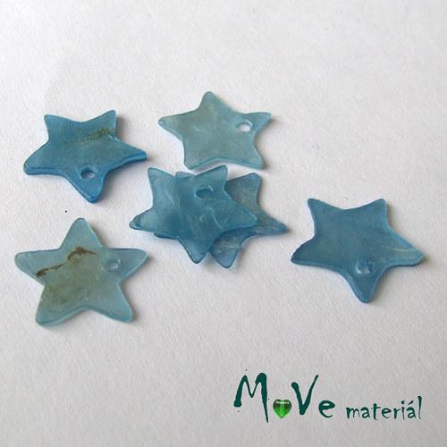 Perleťové penízky hvězdičky 13mm, 6ks, modré