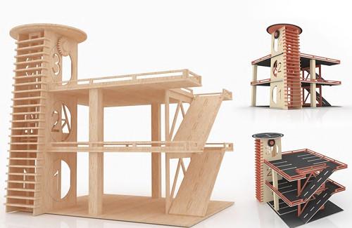Dřevěná skládačka parkovací garáž s výtahem