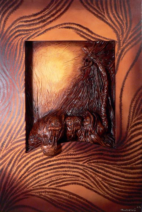 Kožený obraz - Safari II.