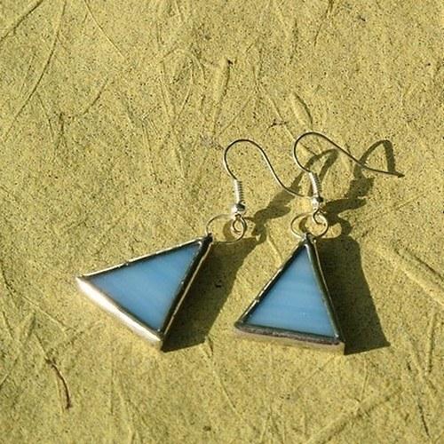 Náušnice - Modré trojuholníky malé