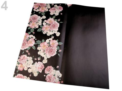 Balicí/dekorační papír 58x59 cm(4ks)- černá