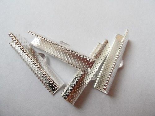 Koncovky na stužky - postříbřené - 30 x7,5 mm, 4ks
