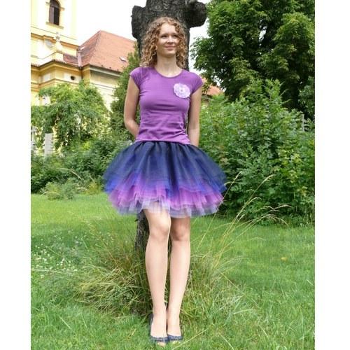 Modro-fialová tylová sukně